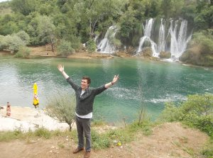 American (by way of Scotland) team member Patrick enjoying the waterfalls at Kravice.
