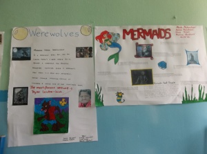 Posters on mythical creatures created by the children in the oldest class.